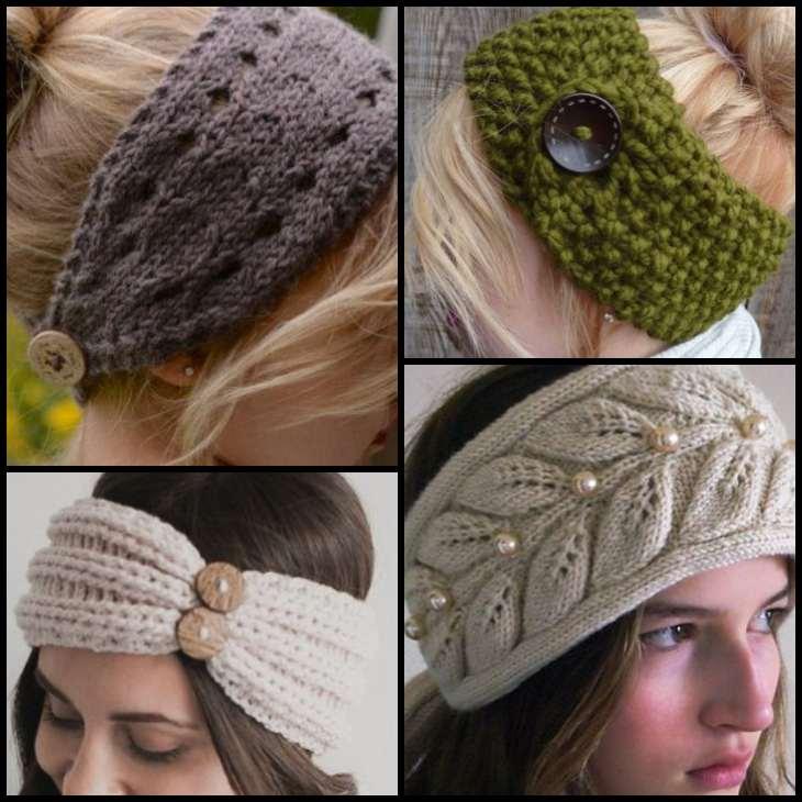 осенние вязанные повязки на голову