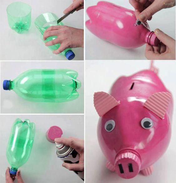 свинка-копилка из пластикой бутылки