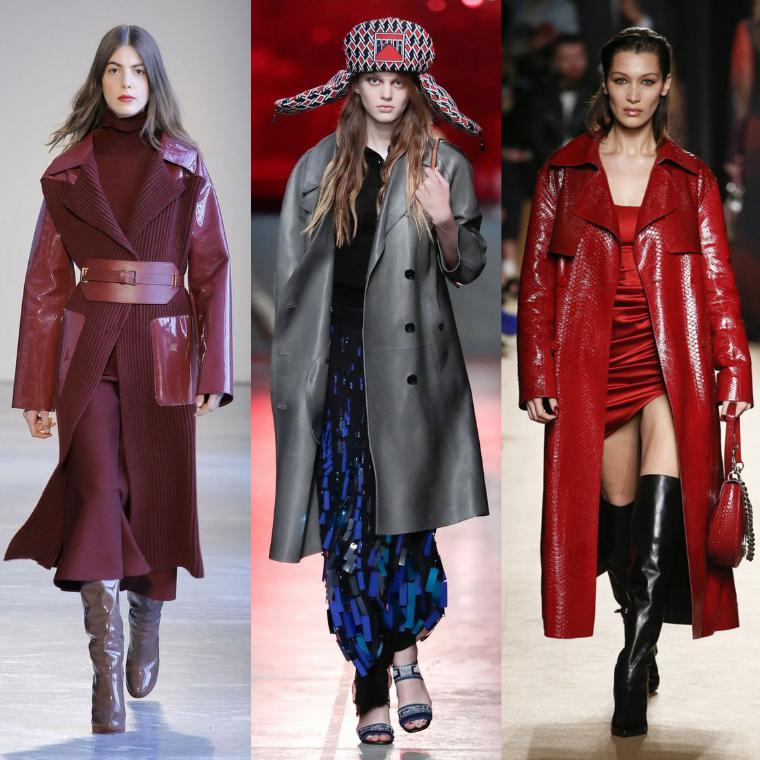 кожаные модели пальто