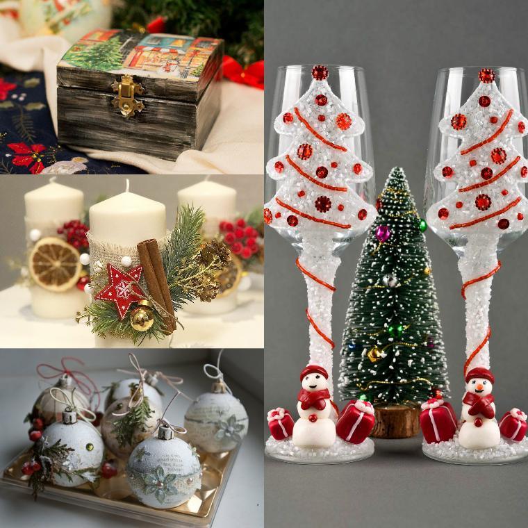 новогодние свечи и игрушки