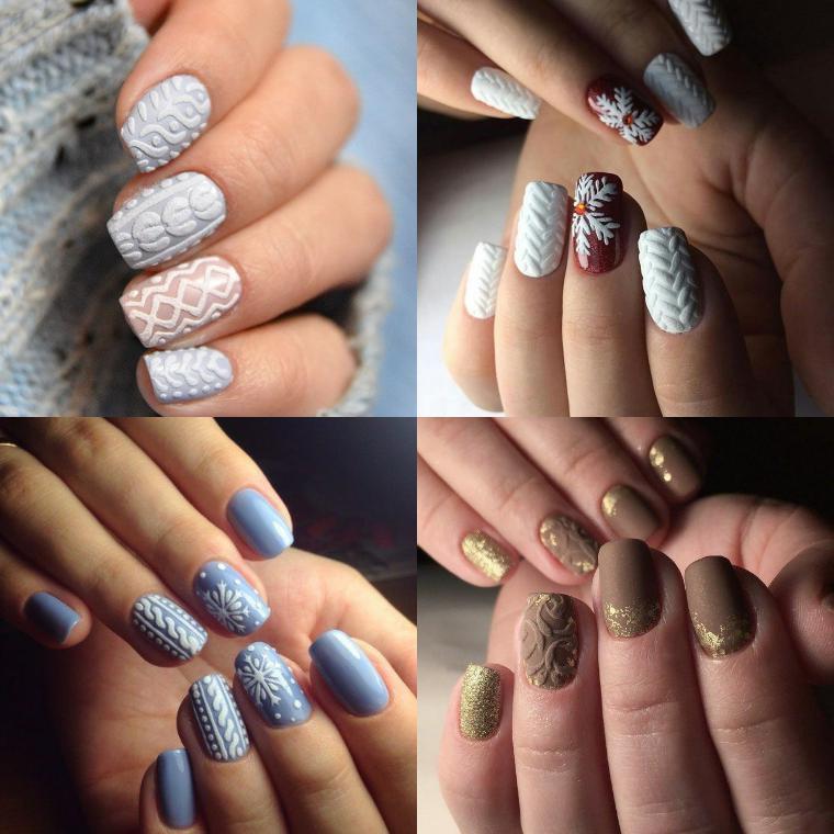вязаный орнамент на ногтях