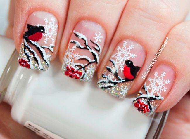 зимний новогодний рисунок на ногтях