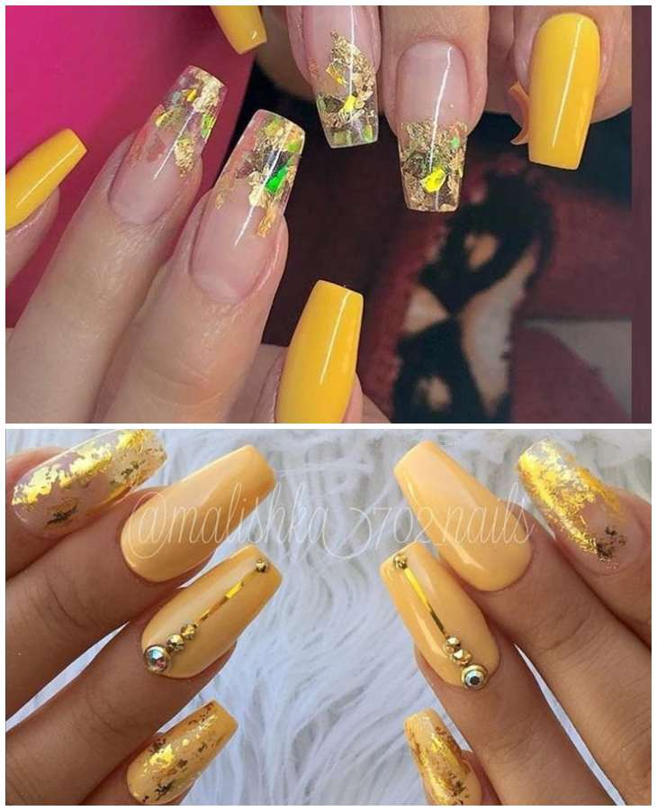 желтый дизайн со стразами на остные ногти