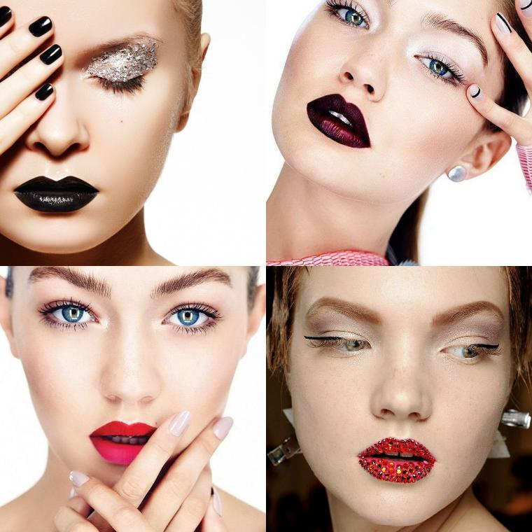 макияж с темными губами