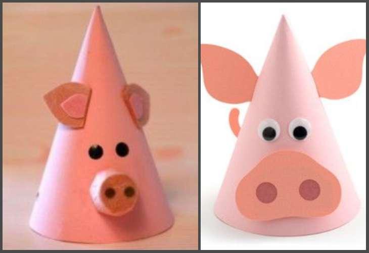 свинки из бумажных конусов