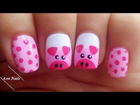 ногти с рисунком свинки
