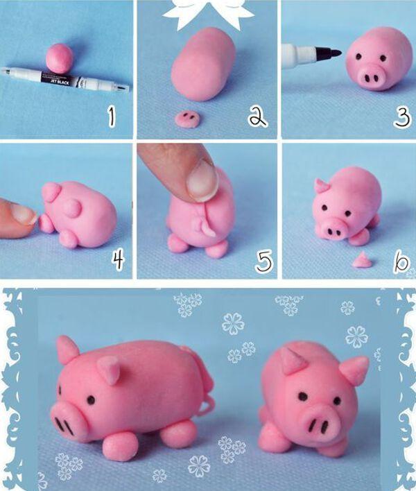 лепка свинки из полимерной глины