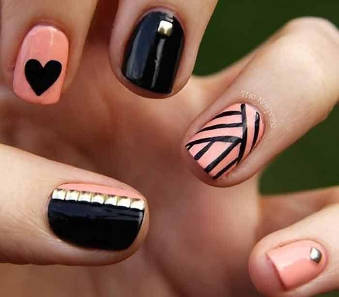 черный и розовый лак на ногтях