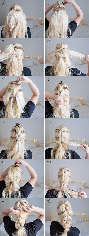 коса на длинные волосы без плетения