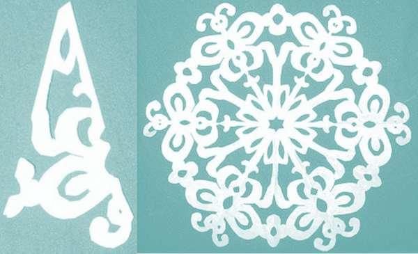 схема для вырезания снежинки 4
