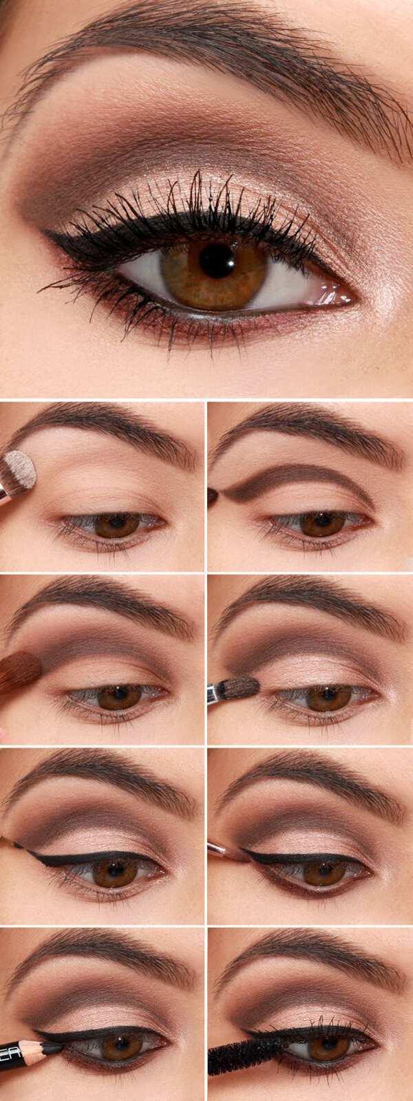новогодний макияж для карих глаз пошагово