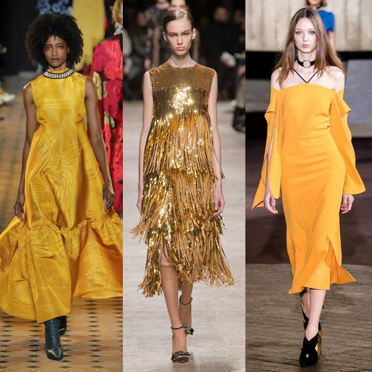платья желтых и золотых тонов