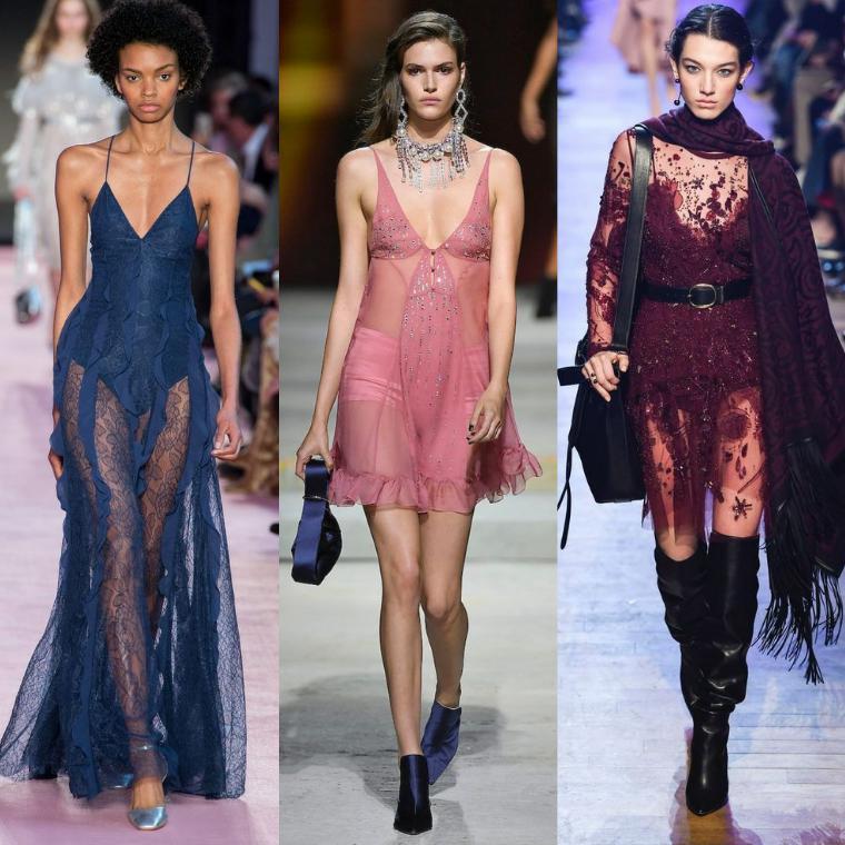 Прозрачные ткани платьев