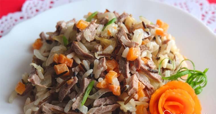 салат из риса и утки