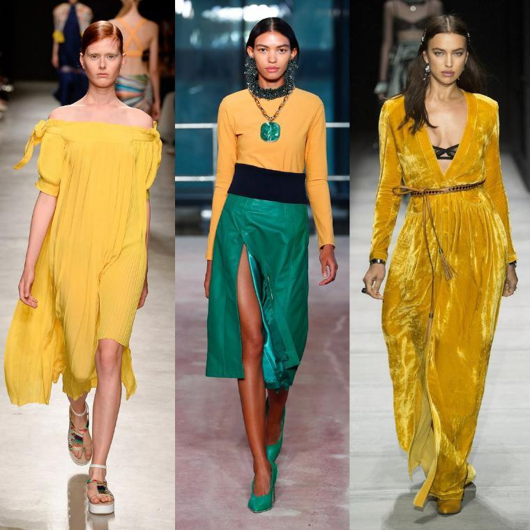 Нарядные желтые платья