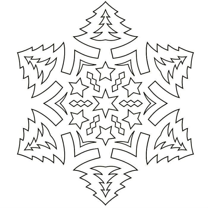 трафарет ажурной снежинки