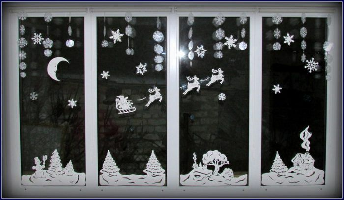 украшение окна новогодними трафаретами