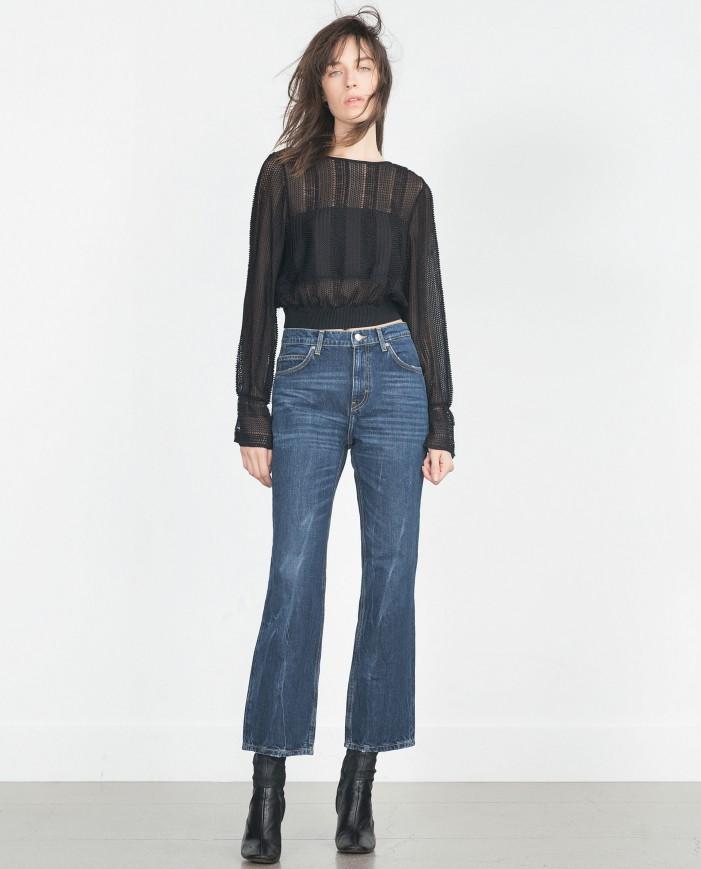 укороченые джинсы клеш