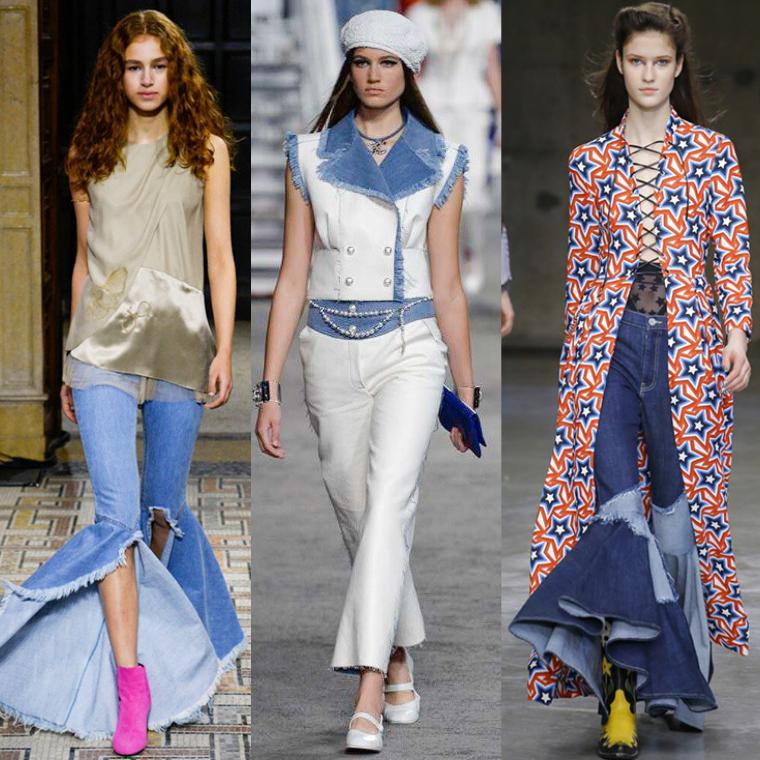 видоизмененные джинсы клеш